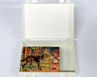 Retro fairytales blocks box-cube puzzle-Vintage toys