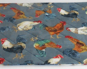 Roosters with grey background
