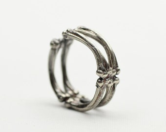 Silver Bone Ring   Skeleton Ring   Gothic Bone Ring   Vintage Silver Ring   Adjustable Ring   925 Sterling Silver   Oxidized Silver Ring
