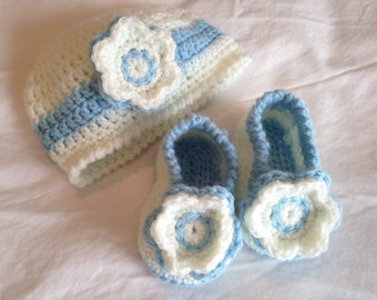 Crochet Beanie and Booties set in Cloud Blue and Ivory