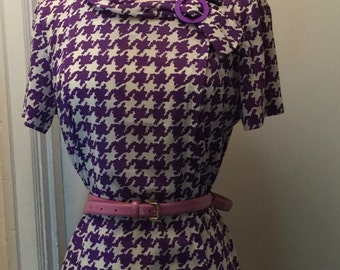 60's bright psychadelic graphic purple houndstooth day dress
