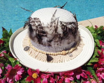 Boho Hat/Sun hat/Custom hats/Summer Hats/Bohemian hat/Women's Hats/perfect for summertime beach time & pool time/Beach hats/Straw hat/party
