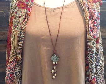 Leather and pearl versatile charm necklace