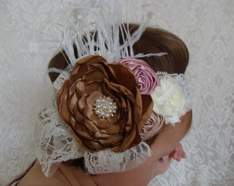Ivory baby Headband Big Flower Headband Pearl Headband Ivory Headband Ivory Flower Girl Ivory Lace Headband Lace Headband Fancy Headband