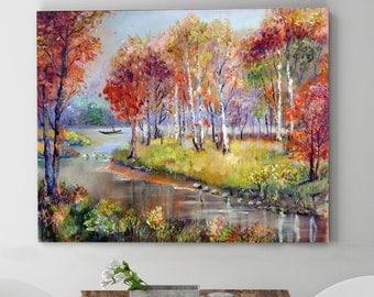 Autumn landscape. Original oil painting on canvas.