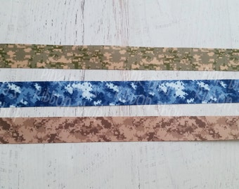7/8 Digital Camo Ribbon - Digital Green Camo Ribbon - Digital Navy Camo Ribbon - Digital Tan Camo Ribbon - Military Camo Ribbon
