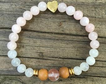 Mermaid Stones -- Pink Stretch Bracelet