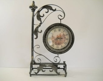 Clock and Mirror on Metal Decorative Stand