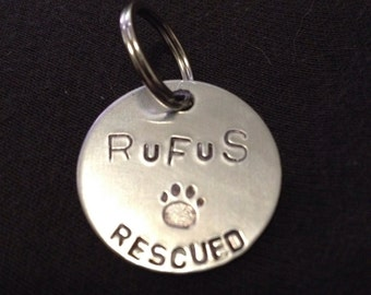 "1"" Custom Hand Stamped Pet ID Tag Double Sided"