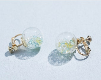 Baby blue sparkling clip on earrings