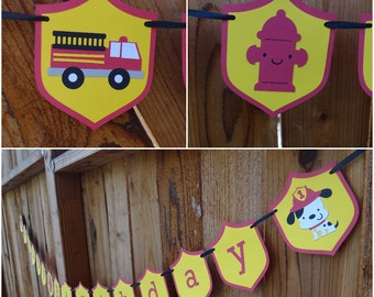 Firefighter Birthday Banner