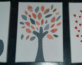 Elephant grey/tree magic / bird singers lot of 3 grey-pink