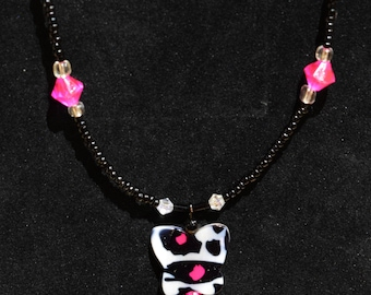 Cute pink and black butterfly beaded necklace
