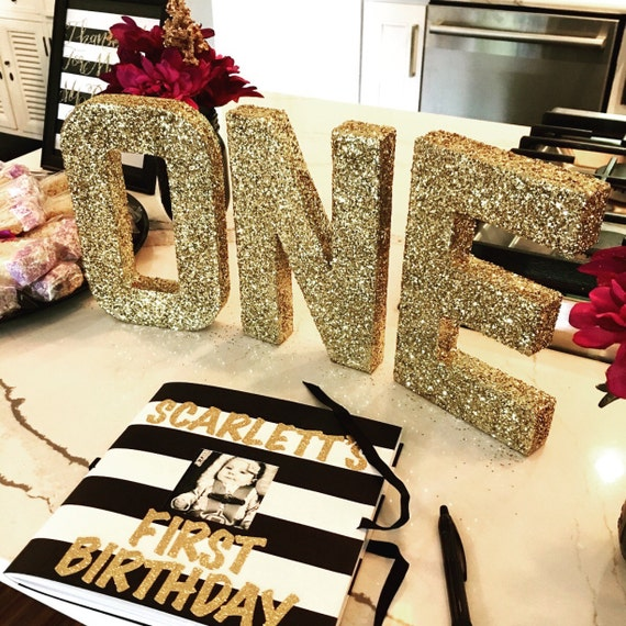 Gold Birthday ONE Standalone Letters Sparkle/ Metallic