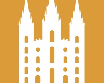 Orange with white silhouette of LDS temple