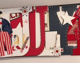 July 4th Chipboard Word Book