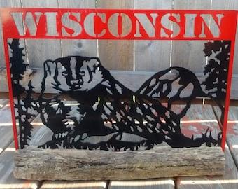 Wisconsin Badger Metal Artwork