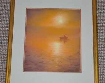 Mary Anne Clarke - impressionist pastel study - rowing boat at sunset