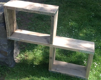 Rustic style recycled scaffold board shelving/storage unit.