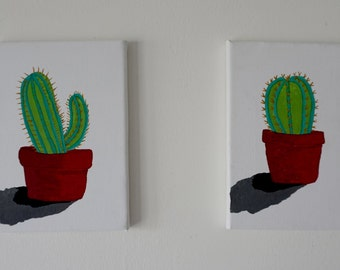 Small A5 Watercolour and Promarker on Canvas; Cacti and Succulents