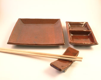 Hand-built Maroon Sushi Set for 1