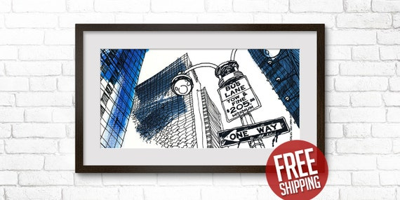 NEW YORK, Times Square, Giclée Print, One Way Sign, Bus Lane, Black Ink & Acrylic Paint, Art Poster, Home Decor, FREE Worldwide Shipping!