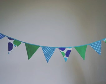 Bunting - blue, green, apples!
