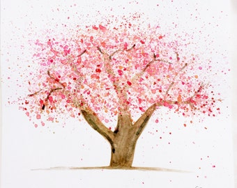Floral watercolor, Cherry blossom tree | Original painting