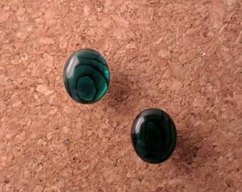 Faux Emerald Stone Stud Earrings