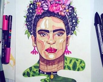 Frida Kahlo Print Artist A4 A5 Illustration, frida illustration, frida art, frista poster, frida kahlo drawing