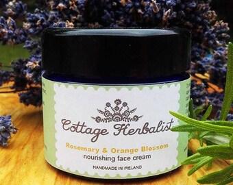 All natural, hand made Rosemary & Orange Blossom face cream 50ml