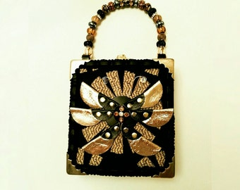 Black Golden Leather Butterfly box purse