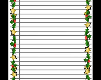 Printable Lined Scrapbook Paper With Christmas Border, Digital Background, Writing  Paper, Instant Download  Lined Paper For Writing