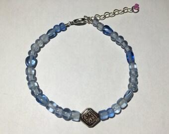 Light Blue Glass Bead Ankle Bracelet