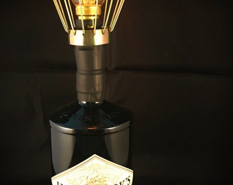 Upcycled Hendricks Gin Bottle fitted with Edison Lamp and in Line Dimmer Switch