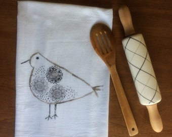 Little Bird Tea Towel - Black & White