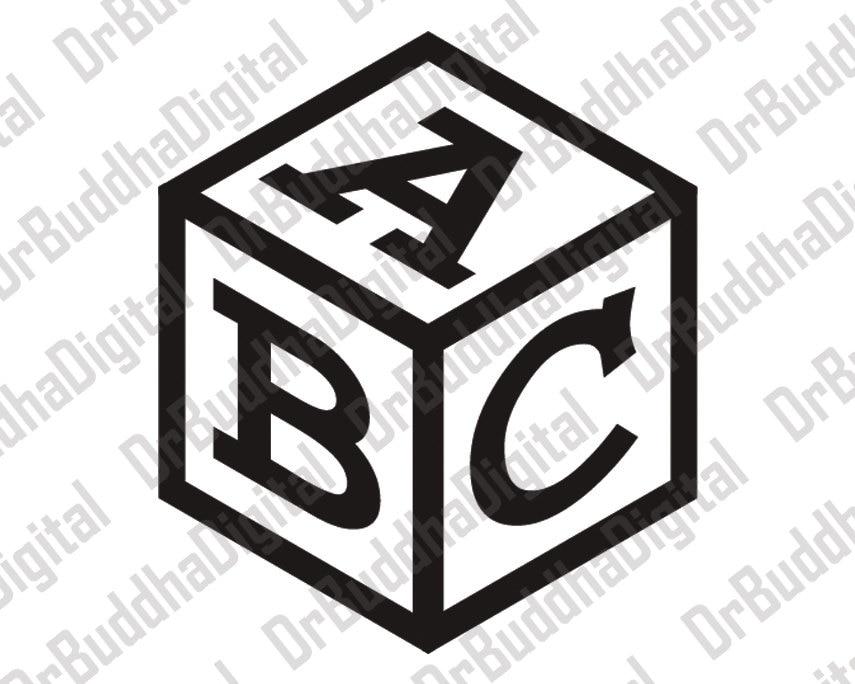 Black And White Abc Blocks : Cube monogram font svg collection baby block alphabet
