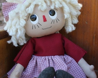 Rag doll, cloth doll, handmade doll, raggedy ann doll