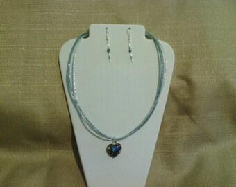 231 Romantic Blue, Black, and Gold Heart Shaped Glass Pendant Beaded Choker