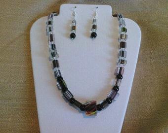 232 Ultra Modern Black, Brown, and Clear Cane Glass Beads Beaded Choker