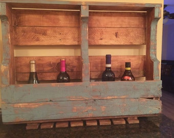 Handmade French Country Wine/Liquor racks with Glass slot.... Can be Made to order in any Stain or color or stress look