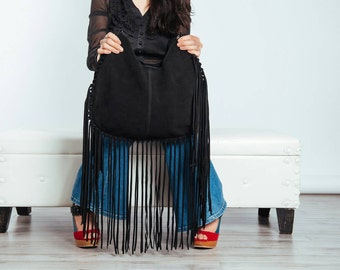 Black leather fringe bag, suede fringe purse, suede leather shoulder bag in black, boho suede fringe bag, leather purse,