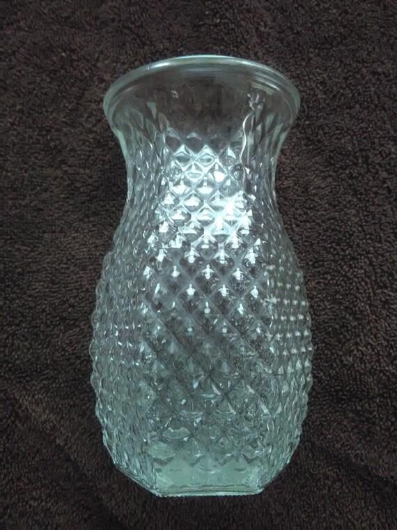 Vintage Hoosier Diamond Cut Glass Vases