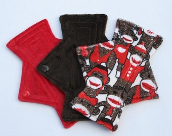 Sock Monkey waterproof Cloth pads. Set of 3.   /  4 sizes to chose from