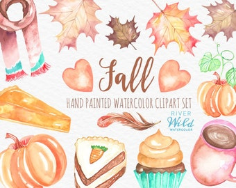 Fall Watercolor Clipart, Pumpkin Clipart, Fall Foliage, Commercial Use Hand Painted High Quality Watercolor Autumn Clipart Set, PNG Fall Art