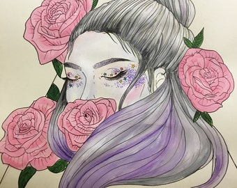 Purple Hair and roses aesthetic acrylic painting