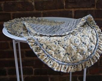 Shabby Chic Blue Flower & Gingham Ruffled Place mats set of 2