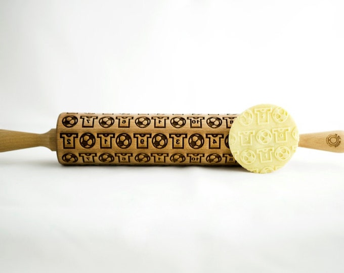 FOOTBALL SOCCER rolling pin, embossing rolling pin, engraved rolling pin for a gift, kids, gift ideas, gifts, unique, autumn, wedding