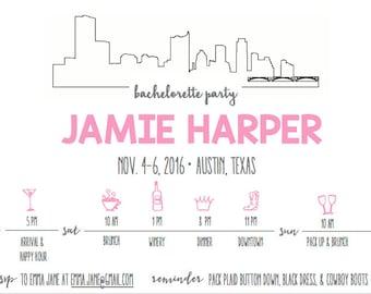 Bachelorette Party Invitation - Austin, TX