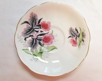 CLEARANCE - Iris Pink/Red Saucer Fine Bone China England    (1)